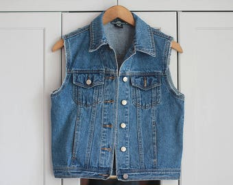 Denim Vest Vintage Jeans Classic Blue Buttons Cut Sleeves Top Sleeveless 1980s Grunge Look Rock n Roll Retro Style / Small Size