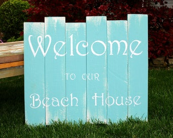 Personalized Sign // Hand Painted Wood Sign // Beach House Decor // Lake House Decor // Ocean // Seashore // Welcome To Our Beach House