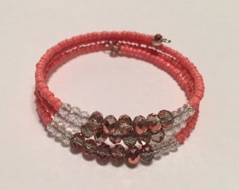 Coral and Crystal Memory Wire Bracelet