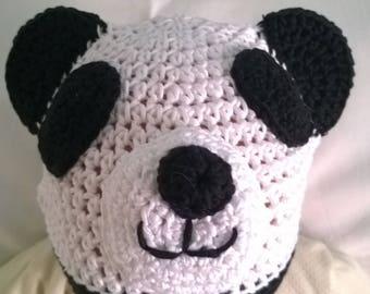 100% cotton crochet Hat worked panda.