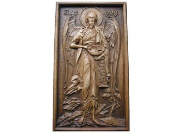 Wood carving 3D art relief picture  Saint Ioan. Woodcarving panel wall decor