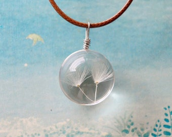 ball clear resin Pendant with Dandelion in it
