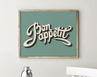 Bon Appetit Sign, Bon Appetit, Kitchen Decor, French Kitchen Decor, Kitchen Signs, French Kitchen Sign, Kitchen Art, Kitchen Wall Decor