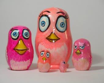 "Nesting Dolls Pink Birds. 3.54"", 5pcs set. Funny kids gift, Painted Nesting dolls,  Matryoshka, handmade matrioshka"