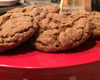 Ginger Molasses Cookies - Gluten Free, Egg Free, Dairy Free  Snappy flavor with a soft chewy texture