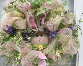 Poly deco mesh Pink/Mint/Cream Easter Wreath