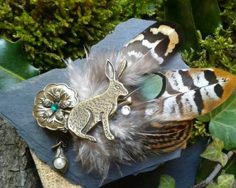 Natural feathers and rabbit charm pin