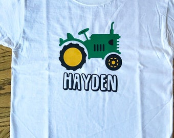 Boys Tractor and Name T-Shirt, Personalized, Birthday Gift, Baby Shower Gift, Monogram, Farm, Southern, Truck