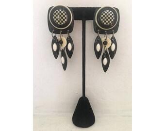 Statement Earrings/ Vintage Earrings/ Designer Earrings/ MAM Earrings/ Black Earrings/ White Earrings/ Checkered Earrings/ Dangle Earrings