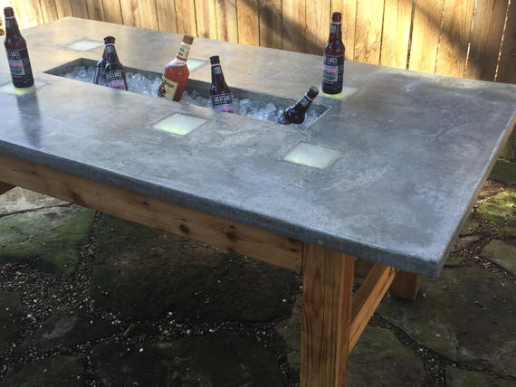 Captivating Outdoor Table W/Ice Trough U0026LED Lights