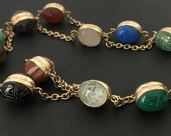 Vintage WRE Gold Filled Double Scarab Necklace