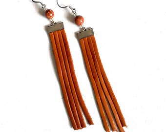 Brown leather and sparkle bead fringe earrings