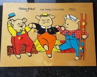 Vintage Fisher Price The Three Little Pigs Wooden Puzzle