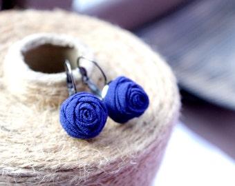 Fabric earrings Rose earrings Little aerrings Blue textile earrings Fabric Flower earrings Floral jewelry Gift for her Small earrings