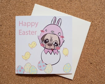 Happy Easter Pug - Square Greeting Card - 141mm x 141mm