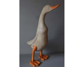 Large grey wooden duck, hand carved, hand painted & distressed to look antique