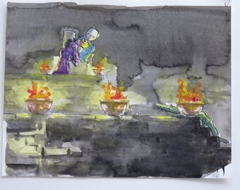 Throne and Crocodile - mixed media on paper