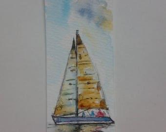 Bookmark in watercolor, original painting of a yellow yacht on the sea