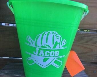 Personalized Bucket/ Baseball/ Bucket and shovel/Summer/ Beach/ Vacation