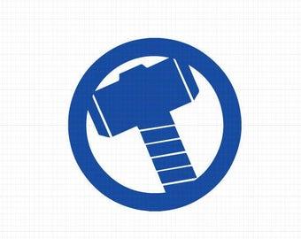 Thor Hammer Svg,Dxf,Eps,Png, Super Heroes SVG Files, Super Hero Cricut Cut File, Thor SVG File, Thor Hammer Png, Instant Download, Thor Dxf