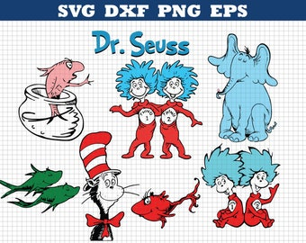 Dr Seuss Svg,The Cat in the Hat,Dr. Seuss Svg,Thing 1,Thing 2,Cutting file,Cricut Files,Printable Cat in Hat,Silhouette Files