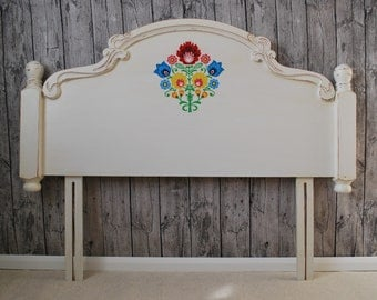Double Headboard Annie Sloan Old White Hand Painted Flowers Polish Folk Shabby Chic