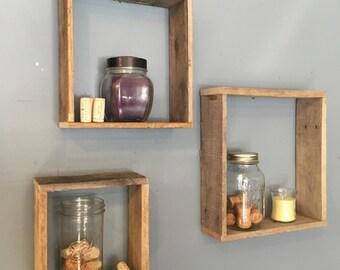 3 reclaimed wood box shelves