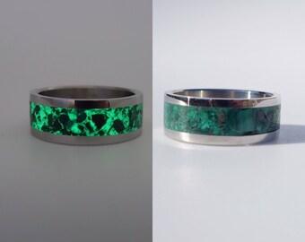 Glow in the dark titanium and malachite ring.