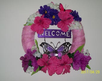 Spring Summer Wreath of Spring Purple and Pink flowers