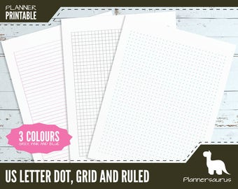 US letter dot grid planner paper printable | bullet journal | BuJo | US letter planner | grid template | ruled paper instant download