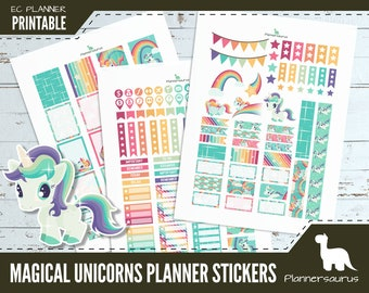 Unicorn printable planner stickers | instant download planner | EC vertical planner printables | digital weekly planner rainbows and unicorn