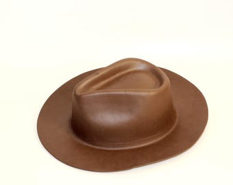 Vintage Brown Rubber Hat One Size