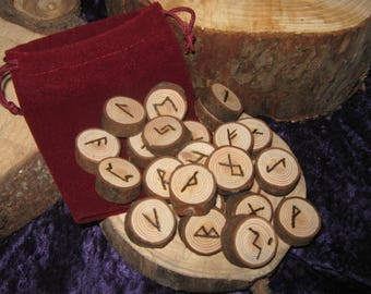 Hand Crafted Rustic Scottish Pine Runes, Wild Wood, Elder Futhark, Pyrographed Rune Set With Velvet Casting Pouch