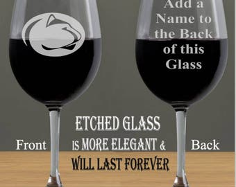 Penn State Etched Wine Glass, Alumni, Personalized Gift, Penn State Football, College Gift Ideas, Penn State University, Etched Wine Glass