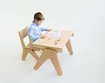 Children table and chair set. Grows up with kid. Kids desk / Children desk / Kids chair / Toddler table and stool / Children chair / Table