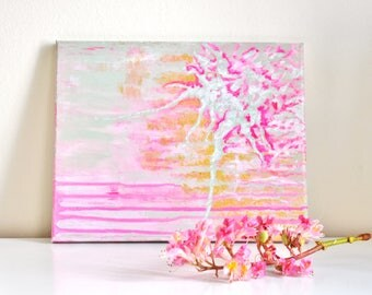 Abstract painting 'PinkMintGold' ORIGINAL, acrylic on canvas, free shipping, pink, gold, mint, metallic, gradient