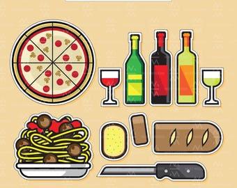 Italian Food Clipart, DIY Stickers Included, Italian Dinner Illustration, Kawaii