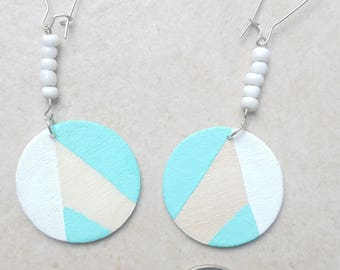 Soft blue & white hand-painted wooden earrings