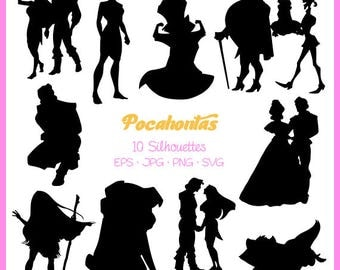 Pocahontas Silhouette, Pocahontas Silhouette, svg, png,eps, jpg Digital Files, Cut Files, Svg files for silhouette,  DSC-026