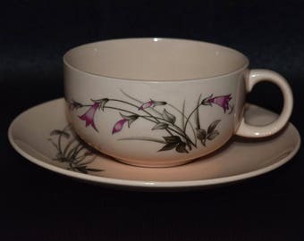 "Crooksville China ""Windblown Carnation"" Tea Cups And Saucers"