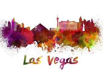 Las Vegas Skyline Watercolor, Las Vegas Art Print, Las Vegas Skyline, Las Vegas Wall Art, Las Vegas Nevada, Las Vegas Cityscape, Wall Art