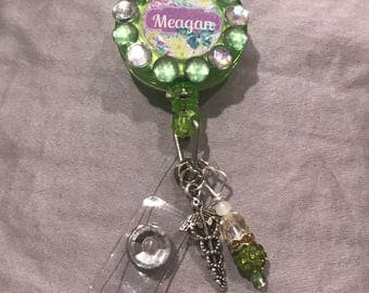 Green Bling Badge Holder