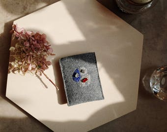 business card case, name card case, credit card case, ID card case, embroidered card case, embroidery card case, felt business card case