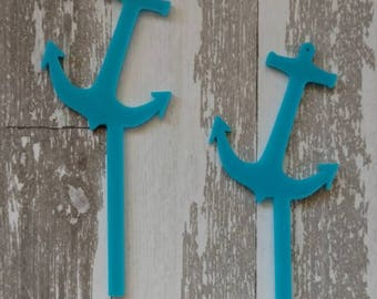 Set of 12 Nautical Vintage Style Sailor Cupcake Toppers Anchor Boy Baby Shower Birthday party decorations Marine blue