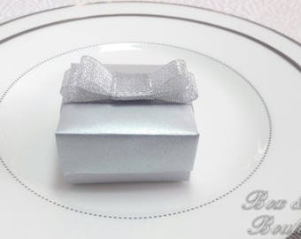 Luxurious and elegant silver favor box with organza ribbon and doubled bow