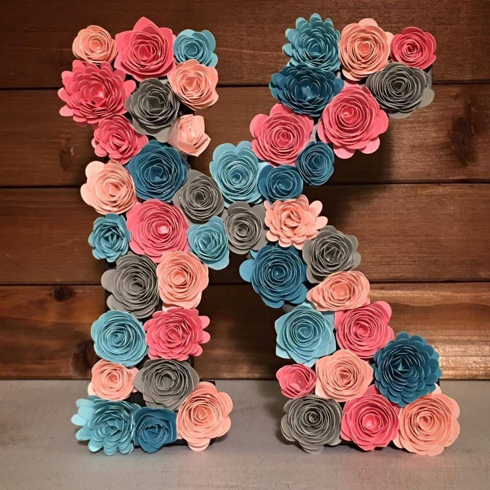 Paper Flower Letters Nursery Decor Large Floral Wood Wall
