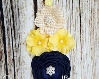 Navy and Yellow Headband-Navy and Yellow Headband-Navy and Yellow  Flowers Headband-Navy and Yellow  Headband-Navy and Yellow Headband