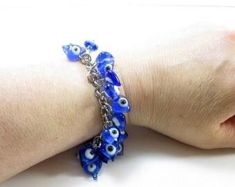 Evil eye bracelet, Evil eye beaded bracelet, Evil eye jewelry, Evil eye, Beaded bracelet, Blue, Turkish jewelry, Evil eye chunky bracelet