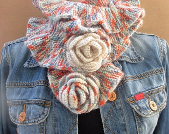 Multicolor knit ruffle scarf, Knit ruffle scarf, Ruffle scarf, Knit ruffle, Knit flower scarf, Hand-knit scarf, Lariat scarf, Flower scarf