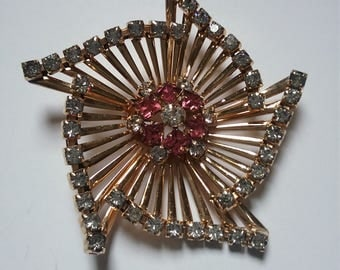 m&s 12k gold filled and  rhinestone spiral pin